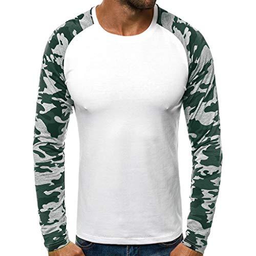 R-Cors Herren Longsleeve Rundhals Ausschnitt Langarm Shirt Einfarbig Slimfit mit Stretchanteilen Uni Basic Round-Neck Tee -
