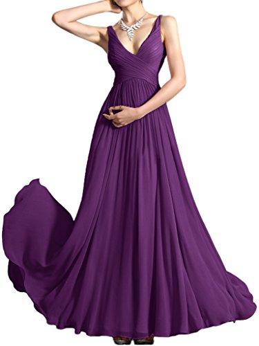 Prom Style Einfach Traeger Chiffon Abendkleider Ballkleider Brautjungfernkleider Promkleid Bodenlang Regency