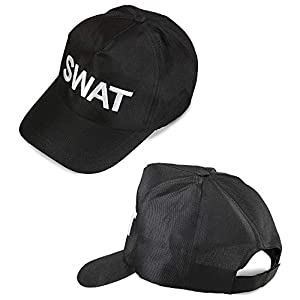WIDMANN Gorra para Adultos SWAT 03607, Ajustable, Negra