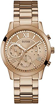 Guess Solar Women's Rose Gold Dial Stainless Steel Band Watch - W10