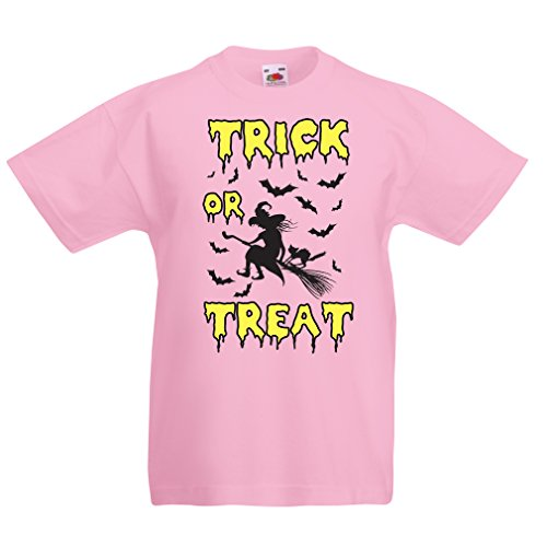 Kinder T-Shirt Trick or Treat - Halloween Witch - Party outfites - Scary Costume (7-8 Years Pink Mehrfarben)