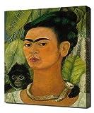 Frida Kahlo - Self Portrait With A Monkey - Art Leinwandbild - Kunstdrucke - Gemälde Wandbilder