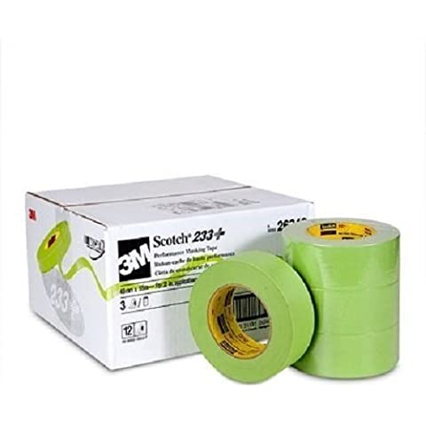 3M Scotch 233+ Performance Paper Masking Tape, 60 yds Length x 2 Width, Green (Case of 12) by 3M Automotive Products