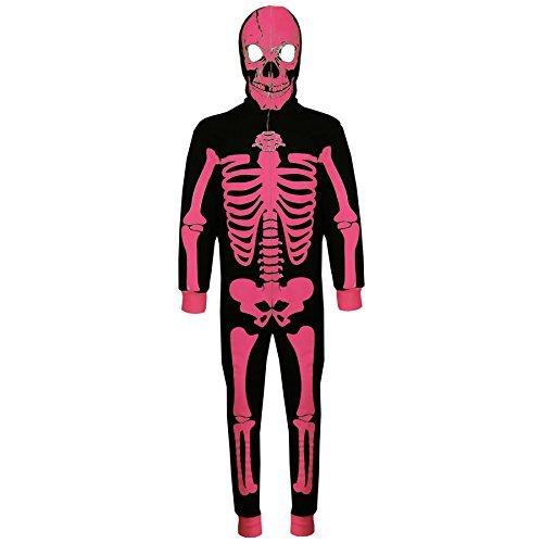 A2Z 4 Kids Kinder Mädchen Jungen Designer Skelettaufdruck A2Z Einteiler ein Teil Einteiler Halloween Kostüm 5 6 7 8 Jahre 9 10 11 12 13 Jahre - schwarz & Intensives Rosa, 9-10 Years (Neun Kostüm Designer)