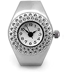 Gleader Women Silver Alloy Quartz Movement Pocket Finger Ring Watch
