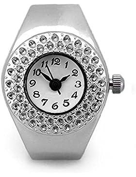 TOP Damen Quarzuhr Ringuhr Ring Uhr Fingeruhr Uhrenring silberfarbe