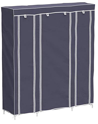 Meerveil Armoire en Tissu Penderie de Vêtement en Toile Mobilier de Chambre Rangement de Vêtements Unique Tringles à Vêtements (Gris)