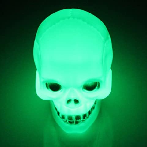 Water & Wood 1x Halloween Colorful Color Changing Flash LED Skull Night Light Lamp Decoration Gift Favor