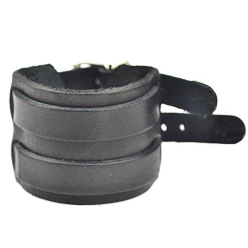 Jiayiqi Mens Unique Wide Leather Double Buckle Wristband Bracelet