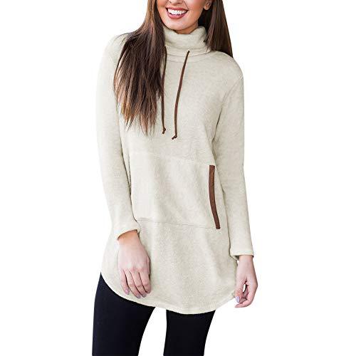 VRTUR Damen Hoodiemit Elegante Schönes Stand Sweatshirt Langarm Tasche Kordelzug Zur Seite Fahren Oben Bluse Kordel (XXL,Beige)