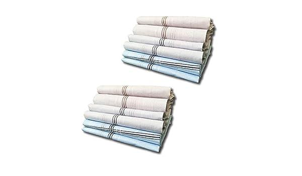 Pacco da 12 Pezzi |Bianchi Misura Grande 41 x 41 cm Confezione Regalo Colorati Made in Italy Fazzoletti da Uomo in Puro Cotone 100/%