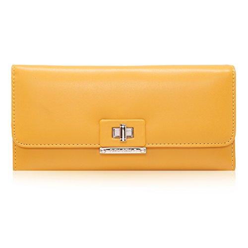 Damara Donne Spin pulsante brevetto Portafoglio in pelle pratica borsa frizione Yellow