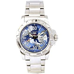 Seiko Men's Quartz Watch with Blue Dial Analogue Display and Silver Stainless Steel Bracelet SRP223