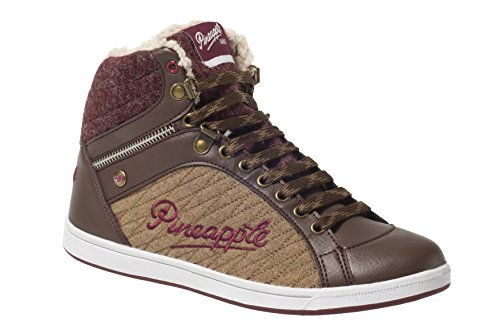 Womens Trainer Hi top Casual Lace up Ladies Fur Lined Winter Rain Shoe (UK5, Brown)