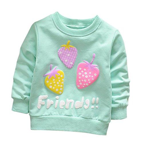 Cartoon Erdbeer Kirsche Print T-Shirt Kleinkind Kind, DoraMe Baby Jungen Mädchen Lange ärmel Pullover Warme Bluse O-Ausschnitt Sweatshirt für 0-3 Jahr (A-Blau, 12 Monate)