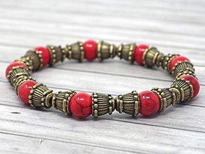Bracelet Zen pour femme en perles de turquoise rouge reconstituée et perles tibétaines en bronze antique
