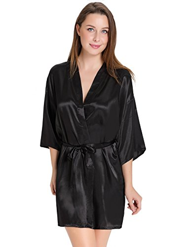 Aibrou Womens Kimono Robes Satin Nightdress Pure Colour Short Style With Oblique V-Neck