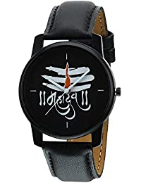 RIDIQA Analog Mahadev Print Black Dial Black Leather Belt Wrist Watch For Man