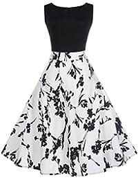 Damen Kleider Frauen Vintage Retro Blumen Drucken Prinzessin Abendkleid  Hevoiok Kleidung Mode Bodycon Partykleid Elegant Ärmellos a394f0afd8