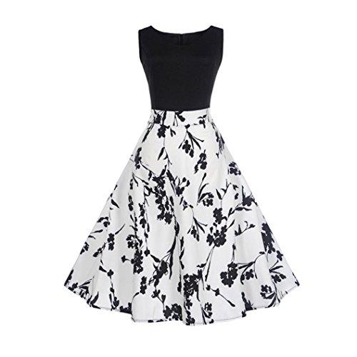 Damen Kleider Frauen Vintage Retro Blumen Drucken Prinzessin Abendkleid Hevoiok Kleidung Mode Bodycon Partykleid Elegant Ärmellos Prom Swing Kleid (Weiß, L) (Damen Passt Kleid)