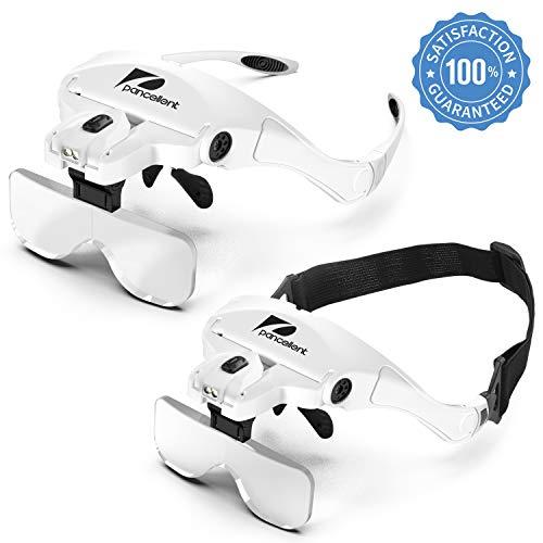 Pancellent Vergrößerungsbrille Lupenbrille mit Licht, Kopflupe Set mit 9 Teillige Präzise ESD Pinzette 5Wechselobjektive(1.0Xbis3.5X) für Lesen, Reparatur, Uhrenmachen, Nähen, Handwerk