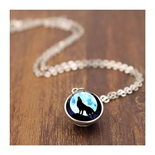 Preisvergleich Produktbild Nikgic Halskette Edelstein Halskette Wolf Doppelseitige Glaskugel Edelstein Anhänger Halskette 1 1