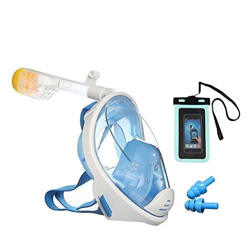 Tauchmaske, Easy Eagle 180° Blickfeld Schnorchelmaske mit Anti-Fog und Anti-Leak vollgesichte Tauchmaske für Erwachsene & Kinder, Wasserdichte Hülle Tasche Beutel und Ohrstöpsel (Maske H2o)