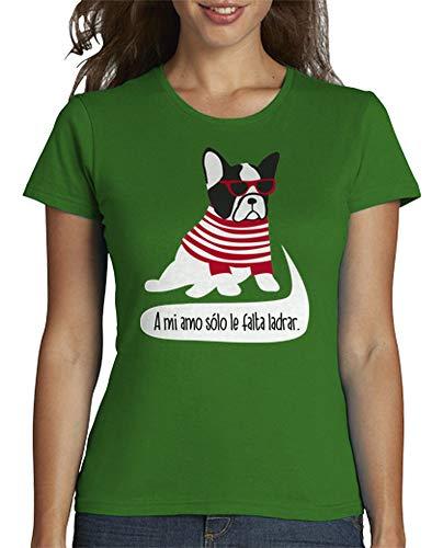 latostadora - Camiseta Bulldog Frances Hipster para Mujer Verde XXL