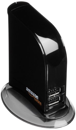 AmazonBasics - Hub USB 2.0 de 7 puertos (enchufe europeo)