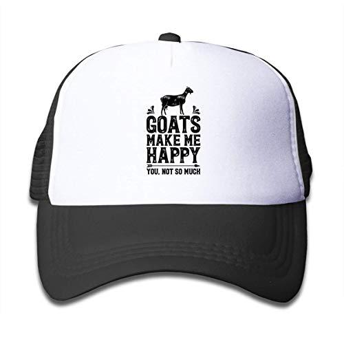 Goats Make Me Happy, You Not So Much Mesh Back Caps Trucker Baseball Hats Girl Black - Striped Mesh Back Cap
