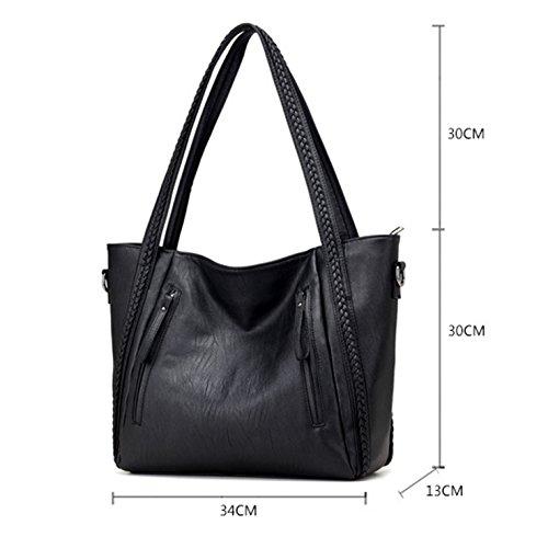 HeHe PU-Leder Shopper Tasche Schultertasche für Schule Reisen Arbeit und Einkäufe Schwarz