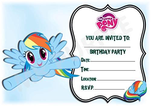 My Little Pony Geburtstagsparty-Einladungen – Rainbow Dash Rahmen Design Party-Dekorationen/Zubehör (Packung mit 12 Einladungen) WITH Envelopes