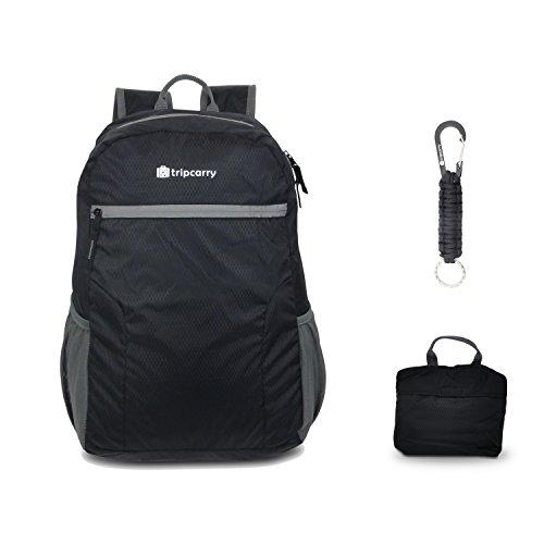 Tripcarry Faltbarer Rucksack (25L) | Ultraleicht & kleines Packmaß perfekt als portabler Daypack im Urlaub - inkl. Paracord-Schlüsselanhänger