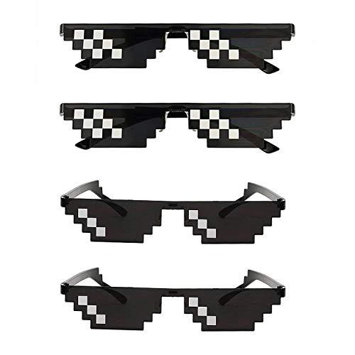 cc5125ee05 Hooggle 4 Pack Thug Occhiali Life da Sole, Uomo Donna Vetro 8 Bit Pixel  Mosaico
