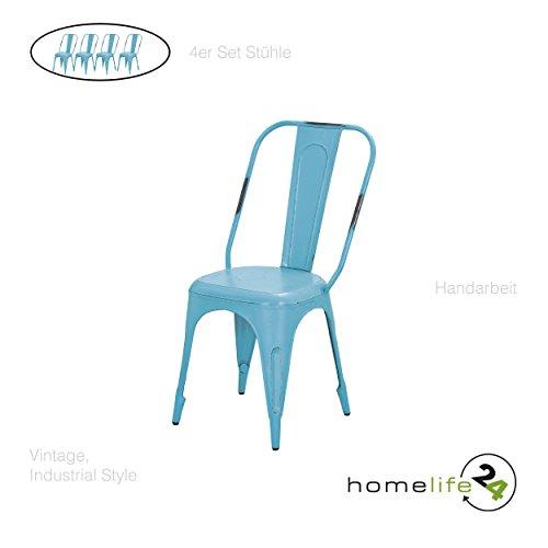 Stuhl Vintage 4er Set Metallstuhl türkis vintage shabby retro Design für das Esszimmer oder Küche...