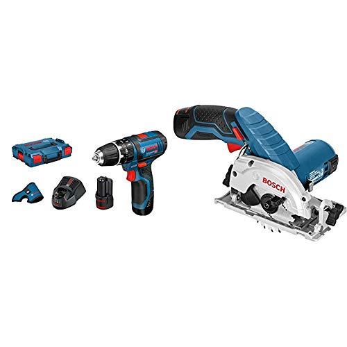 Bosch GSB 12V - 15 - LI Professional Trapano Battente-Avvitatore a Batteria + Bosch GKS 12V-26 Professional Sega circolare a batteria, Blu