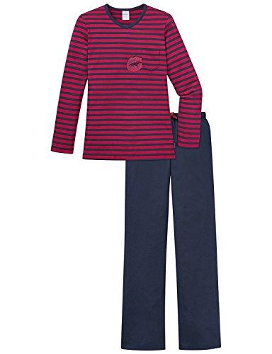 Schiesser Mädchen Zweiteiliger Schlafanzug Anzug Lang, Rot (Dunkelrot 507), 164