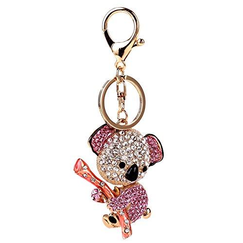 """Fengteng Damen Schmuck mit Motiv """"putziges Faultier"""" Anhänger Faultier Schlüsselanhänger mit Strass Hängendes Tier Schlüsselring witziger Modeschmuck Geschenk (Pink)"""