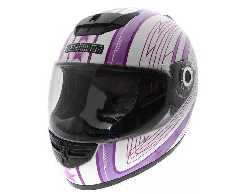 WACHMANN WA-20 Eques lila/weiss glänzend Integralhelm, Rollerhelm, Motorradhelm [Größe M]