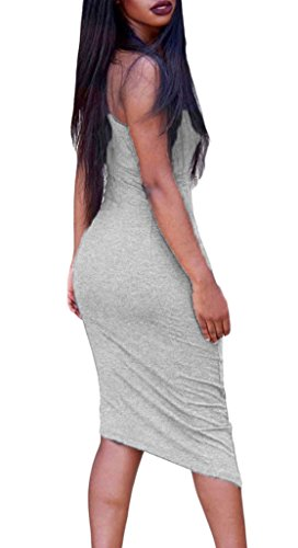 EOZY Femme Robe Sans Manche Moulant Crayon Causal Slim Robe Court Gris