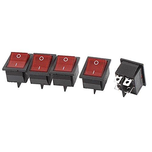 Hrph 5pcs interruptores rojos Iluminado Luz de encendido / apagado DPST Barco...