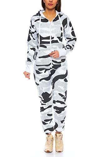 Crazy Age Herren Jumpsuit Overall Strampeler Latzhose Ganzkörperanzug Sweat Camouflage Design. Warm, Weich, Sportlich (XS, Camouflage Damen 2)