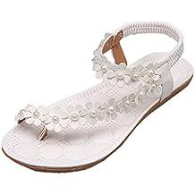 Sandalias mujer, Manadlian Zapatos de mujer de verano Sandalias planas Bohemia Cuentas de flores Zapatillas