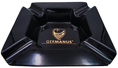 GERMANUS Grande Sigaro Portacenere 'Monument I' Nero Oro, 22 x 22 x 5 cm