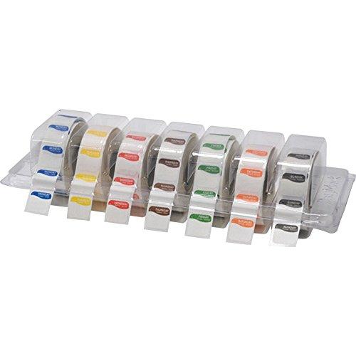 Daymark - Etiquetas cuadradas Grandes de 25 mm de la Semana para Alimentos, con Lunares en dispensador Transparente, 1000 Etiquetas por día, 7 días