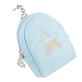 Outflower Leder Münzfach Halter Tasche Schlüsselanhänger Damen Mini Handtasche Reißverschluss Geldbörse Nette Frauen Brieftasche Auto Anhänger Zubehör für Geschenk (Blau)
