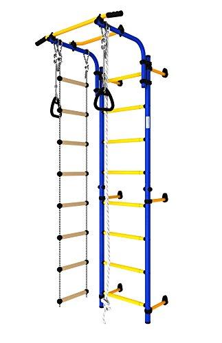 Christopeit Hercules 1W Sprossenwand, Turnwand, Klettergerüst mit Strickleiter, höhenverstellbarem Reck, Klettertau und Turnringen in Blau-Gelb