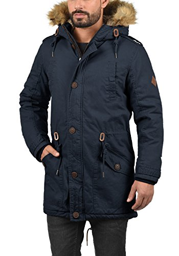SOLID Clarki Teddy Herren Parka lange Winterjacke Mantel mit Fell-Kapuze und Teddy-Futter aus 100% Baumwolle Insignia Blue (1991)
