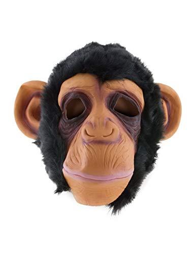 Halloweenia - Kostüm Accessoires Zubehör Tier Latex Maske Affenmaske Schimpanse AFFE Monkey, perfekt für Karneval, Fasching und Fastnacht, Schwarz