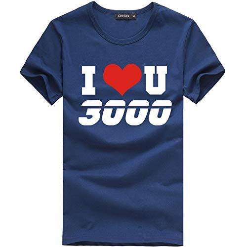 SANFAHSION Sport Shirt Herren Brief I Love You Druck Sommer Basic Sweatshirt Slim Fit Kurzarm Tee Fitness Tops